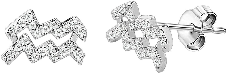 FAADBUK Zodiac Sign Earrings CZ Horoscope Rose Gold Zodiac 12 Constellation Pendant Earrings Birthday Gift for Women Astrology Jewelry