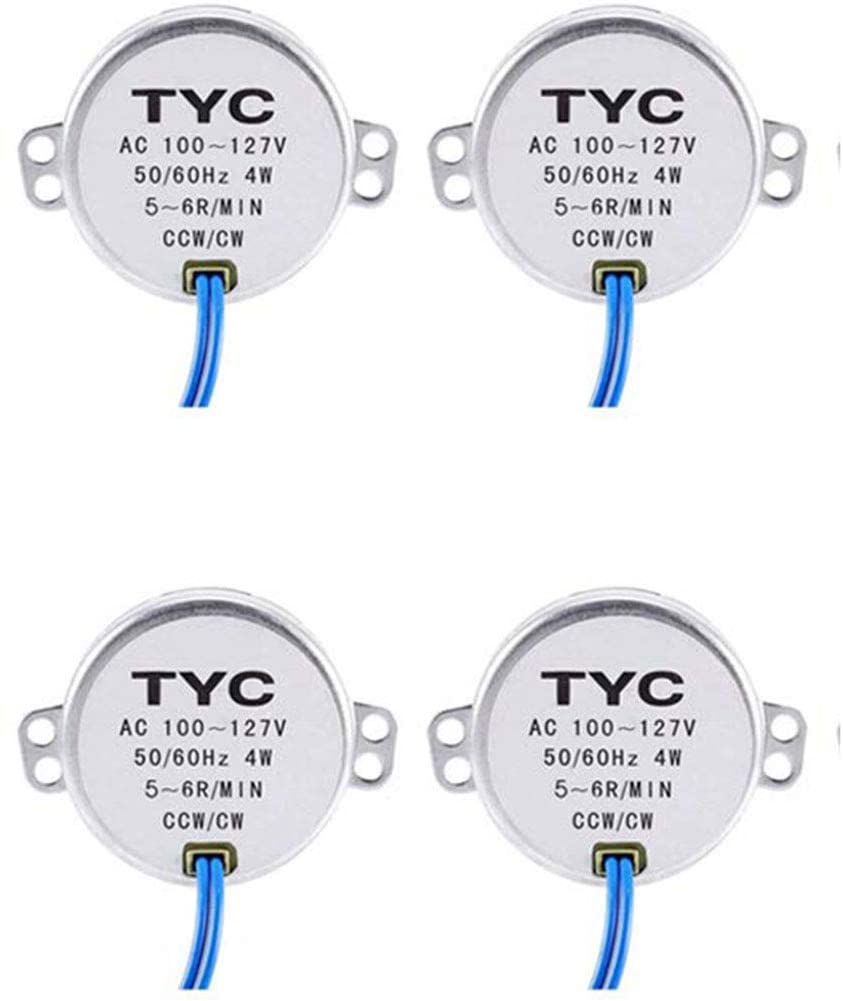 2/4/6/8/10pcs Electric Synchron Motor Turntable Synchronous Motor AC 100-127V for School Project Microwave Oven (4pack-5-6RPM)