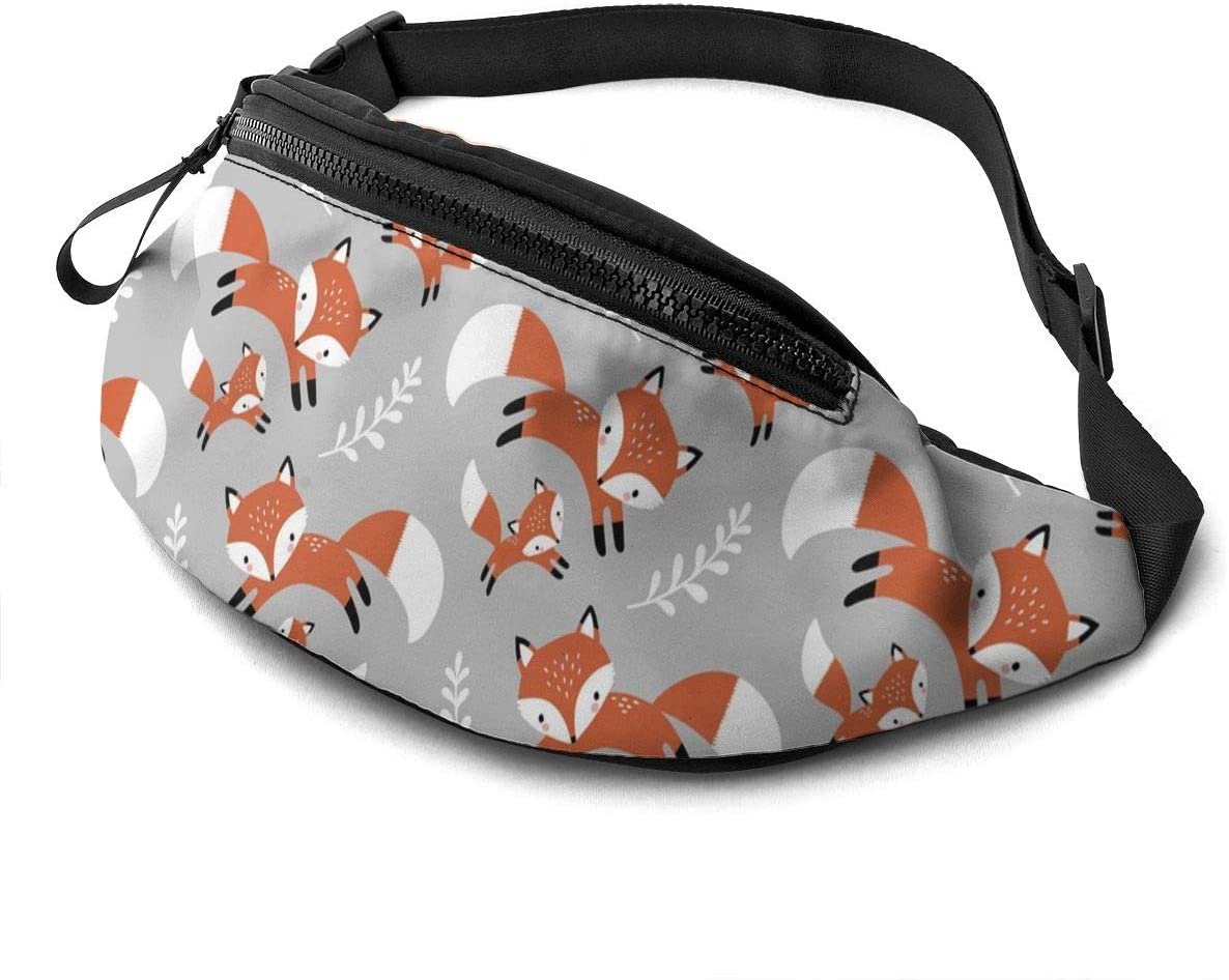 Dujiea Fanny Pack, Cute Foxes Leaves Gray Waist Bag with Headphone Hole Belt Bag Adjustable Sling Pocket Fashion Hip Bum Bag for Women Men Kids Outdoors Casual Travelling Hiking Cycling