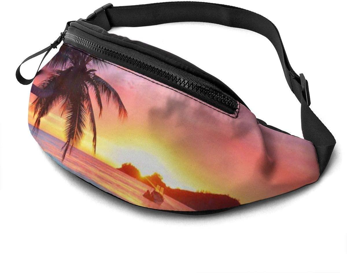 Dujiea Fanny Pack, Sunrise Tropical Palm Tree Waist Bag with Headphone Hole Belt Bag Adjustable Sling Pocket Fashion Hip Bum Bag for Women Men Kids Outdoors Casual Travelling Hiking Cycling