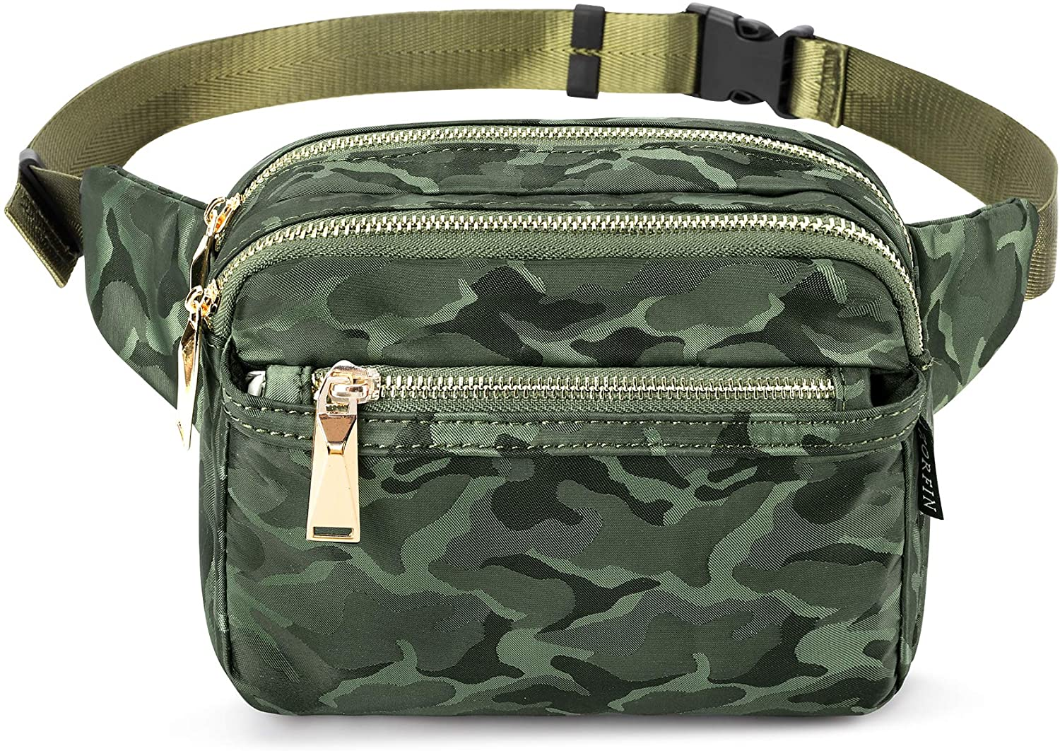 ZORFIN Fanny Pack for Women and Men, Multiple Pockets Waist Pack Belt Bags for Travelling Hiking Cycling (Camo Green)