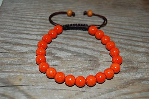 Anxiety Relief Calming 8mm Adjustable Orange Jade Bracelet Round, Smooth 7