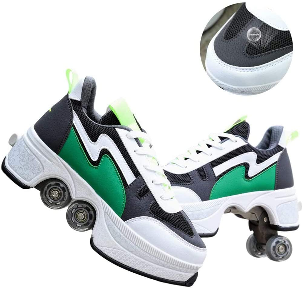 MLyzhe Four-Wheeled Roller Shoes Female Automatic Dual-Purpose Skates Casual Deformation Double-Row Roller Skates (41, Green)