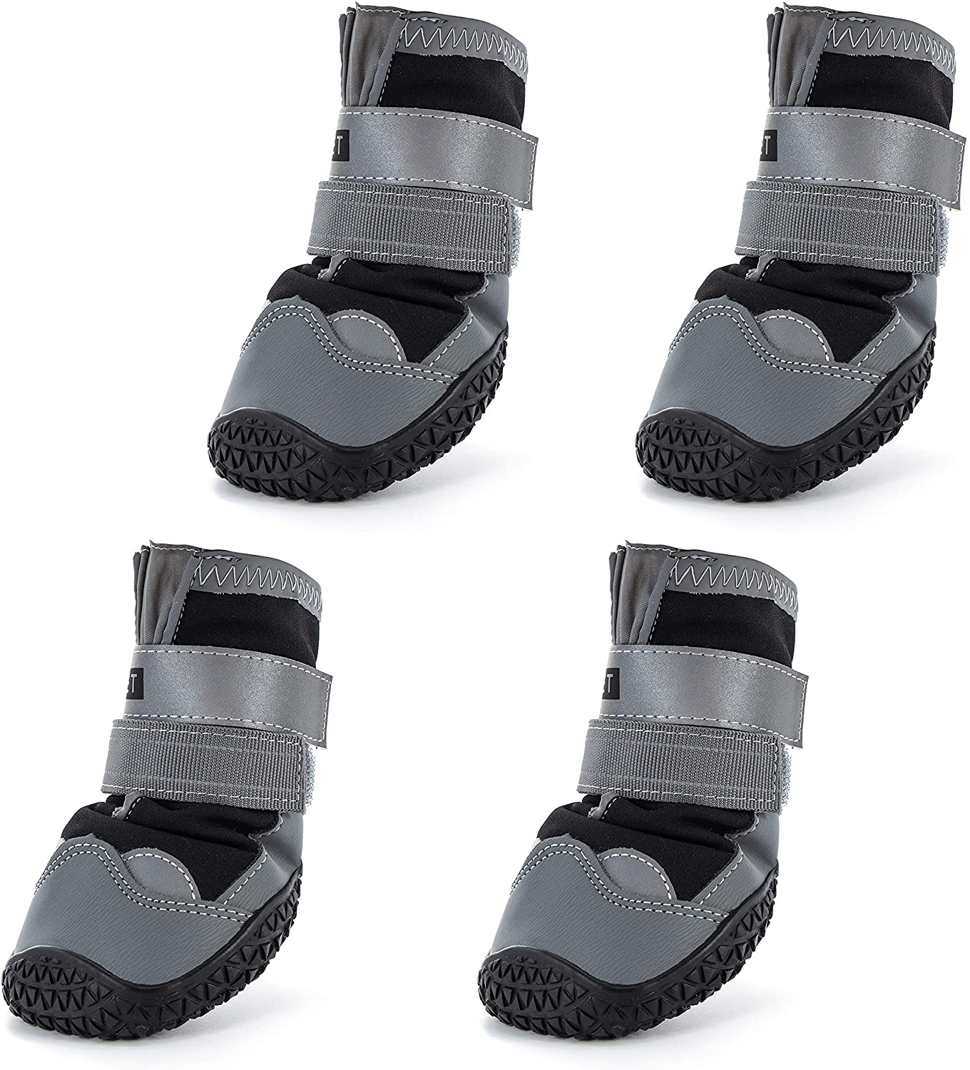 Hcpet Dog Boots Waterproof for Dog with Reflective Velcro Rugged Anti-Slip Sole and Skid-Proof Outdoor Paw Wear for Medium to Large Dogs 4Ps