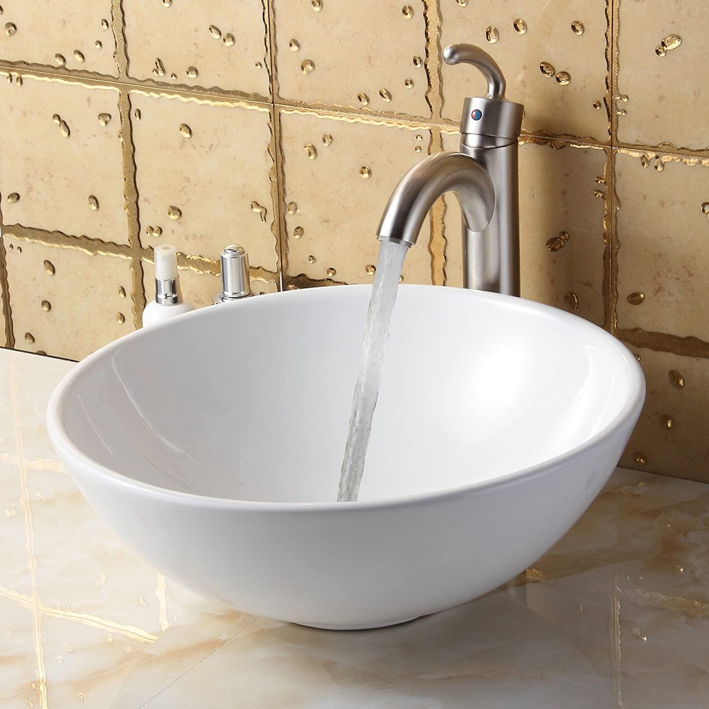 ELITE Bathroom Round White Ceramic Porcelain Vessel Sink & Brushed Nickel Single Lever Faucet