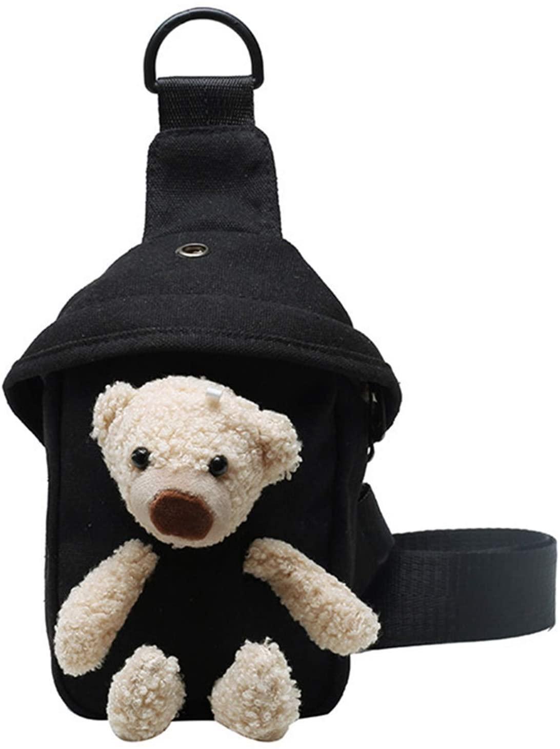 Cute Chest Bag, Bear Pack for Female Women, Fasion Girl Waist Bag, Adjustable Belt Cartoon Doll Small Bag, Lightweight Customized Messenger Waist Bag