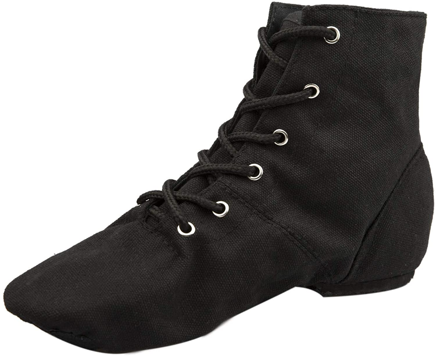 NLeahershoe Lace-up Canvas Dance Shoes Flat Jazz Boots for Practice, Suitable for Both Men and Women