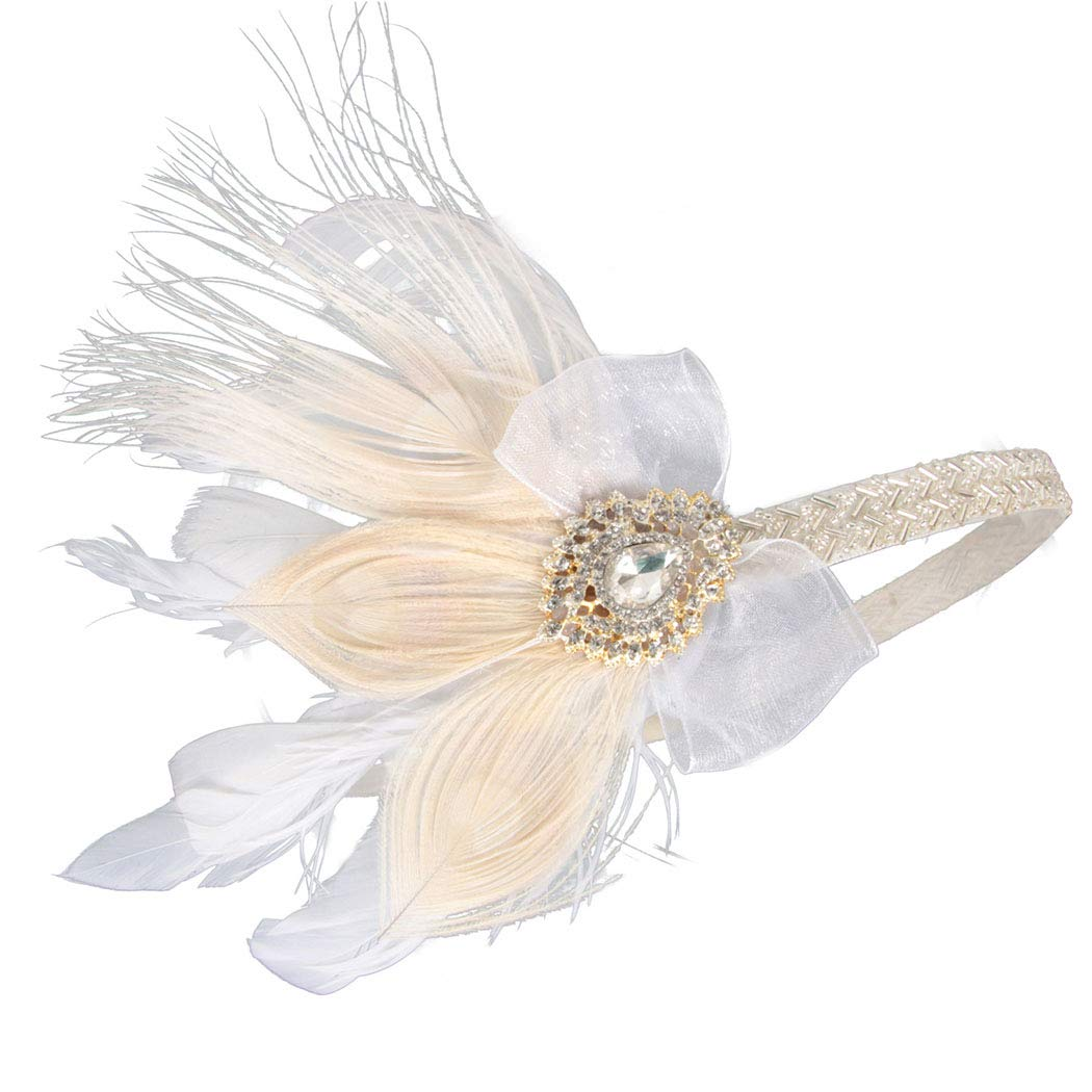 Fashey 1920s Flapper Headband Vintage Feather Headpiece with Rhinestone Crystal Great Gatsby Inspired Flapper Hair Accessories for Prom Party Festival (Type B)