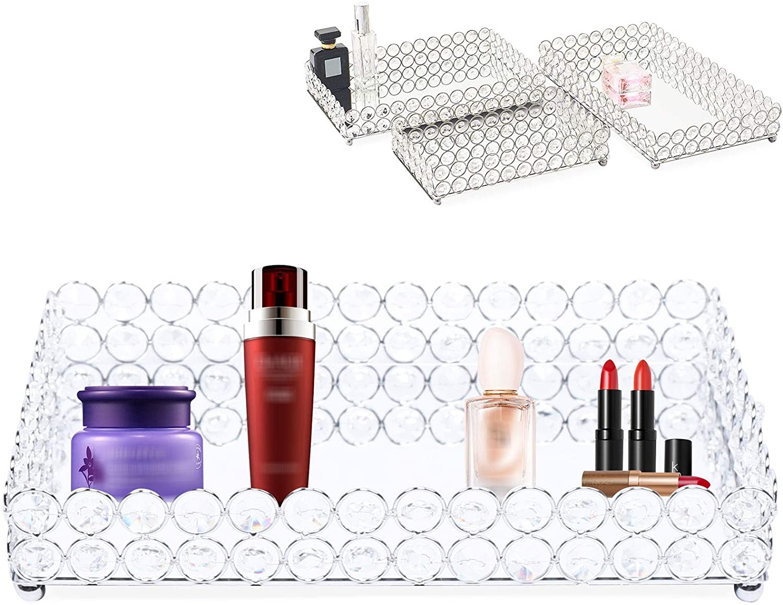 WINUS Crystal Cosmetic Makeup Tray, 3Pcs Mirrored Crystal Vanity Trinket Decorative Trays Organizer for Perfume Jewelry , Toiletries,Trinket, Home Decor Tray for Dresser/Vanity Table, Bathroom Use