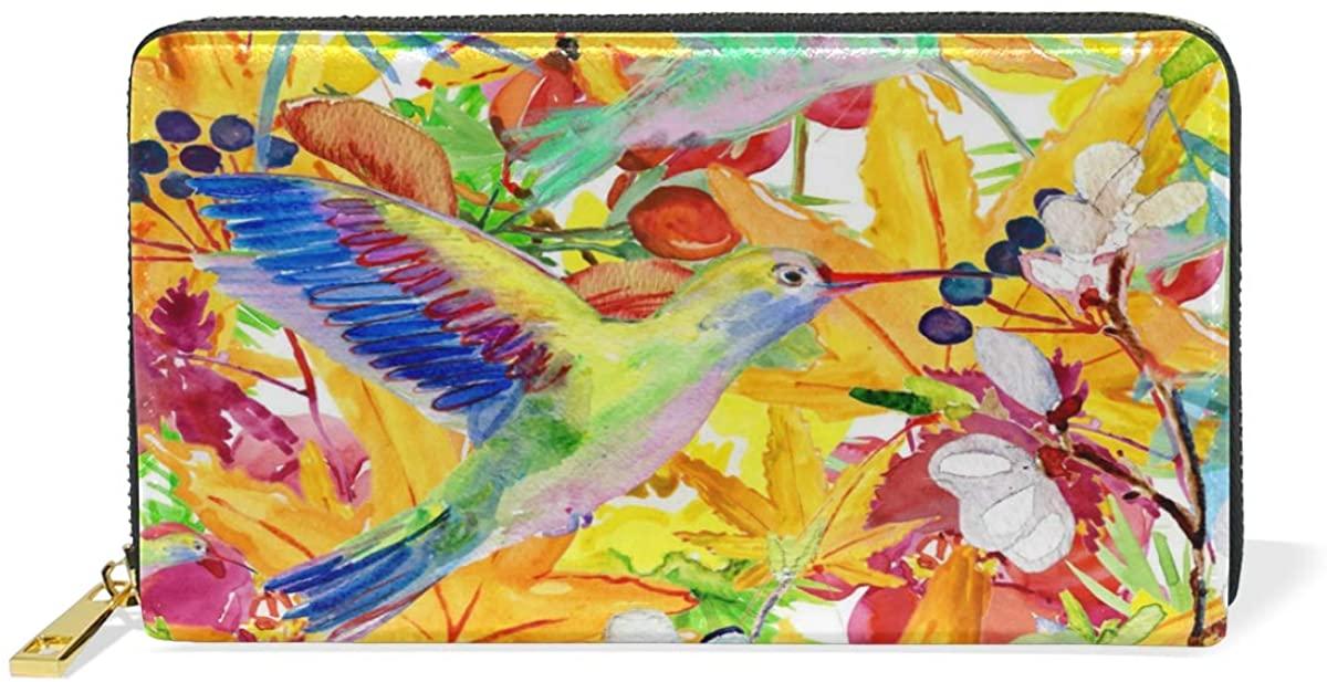 Women Genuine Leather Wallet Watercolor Hummingbird Flowers Zipper Purse Girl Phone Clutch