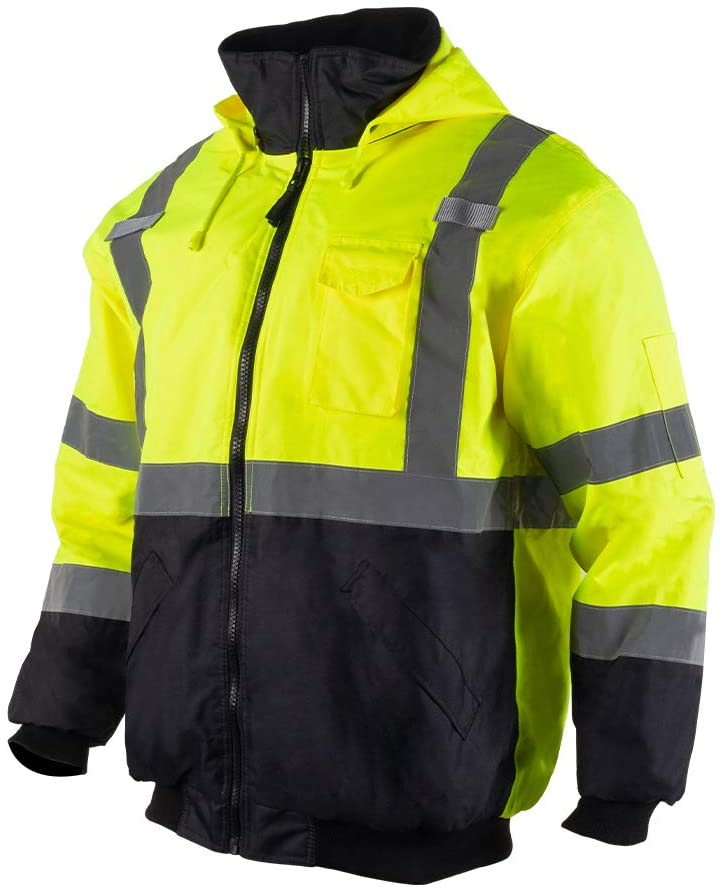 Vendace Men's Class 3 High Vis Bomber Jacket Lime Yellow Quilted Waterpoof Workwear Size 5XL