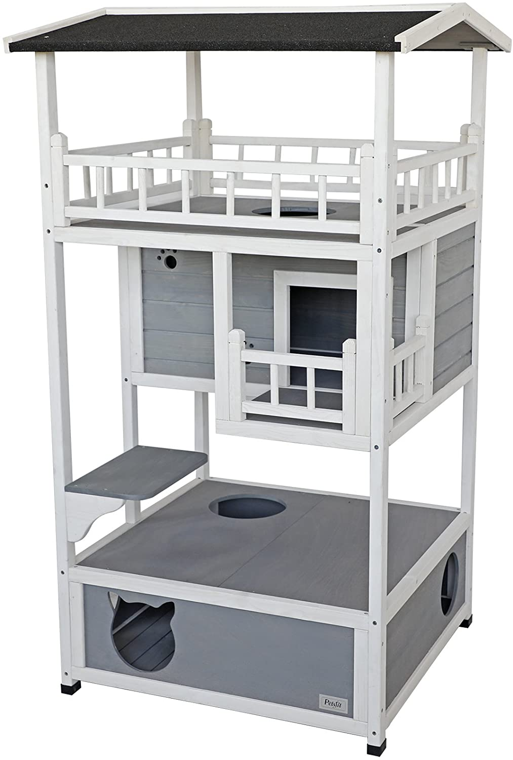Petsfit Outdoor Cat House Weatherproof,Sturdy and Cute for Play and Hide