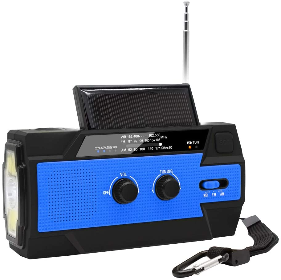 BISOZER Emergency Crank Radio, 4000mAh-Solar Hand Crank Portable AM FM NOAA Weather Radio with 1W Flashlight & Motion Sensor Reading Lamp, Cell Phone Charger, SOS for Home Emergency Blue