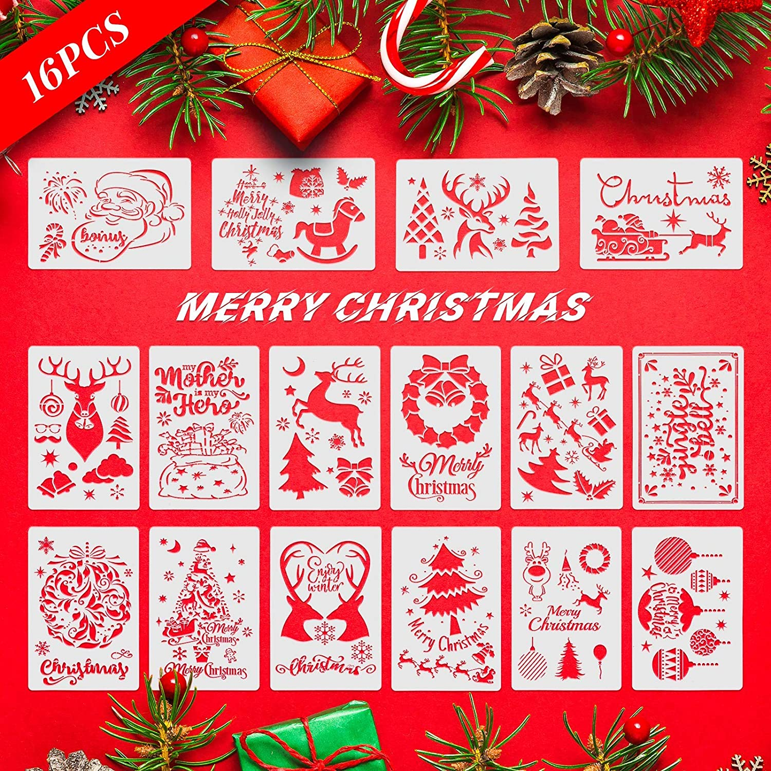 Tersale 16pcs Christmas Stencil Template,Reusable Material Christmas Stencils with Christmas Tree,Reindeer,Snowman,Snowflake Pattern,for Glass,Wood,Wall, Metal,Stone,Paper,Posters Painting,etc.
