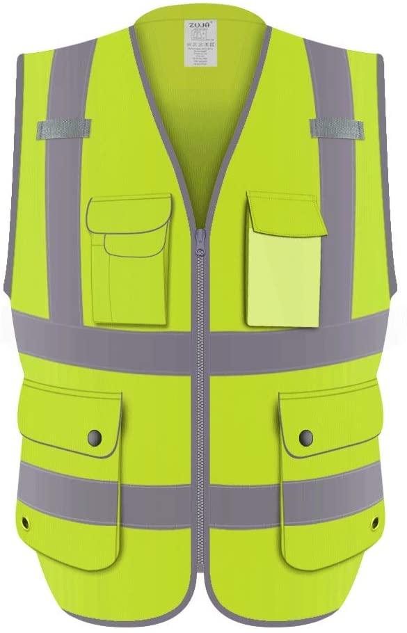 ZUJA Safety Vest ANSI/ISEA Standards High Visibility Pockets Reflective Vest for Men & Women (Yellow,2XL)
