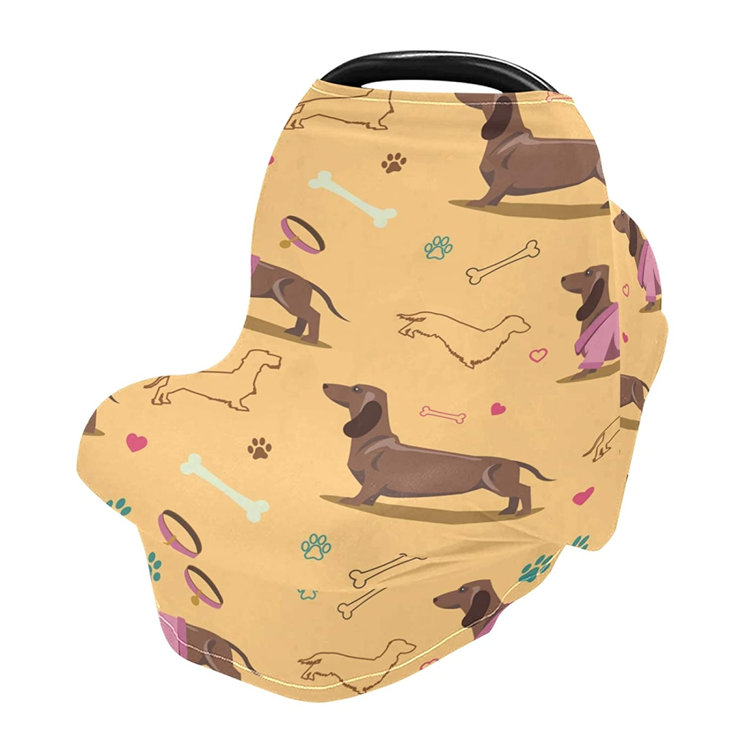 Baby Car Seat Cover Cute French Poppy Dachshund Nursing Covers Breastfeeding Scarf Infant Carseat Canopy for Mom Baby Gift