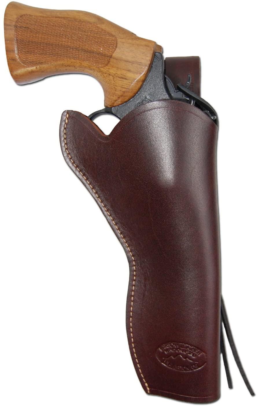 Barsony New Burgundy Leather 49-er Style Gun Holster for 6 inch Revolvers
