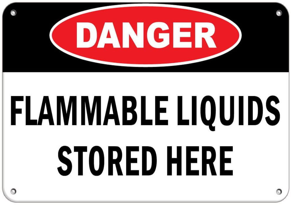 Danger Flammable Liquids Stored Here Hazard Sign Flammable LABEL DECAL STICKER Sticks to Any Surface 10x7