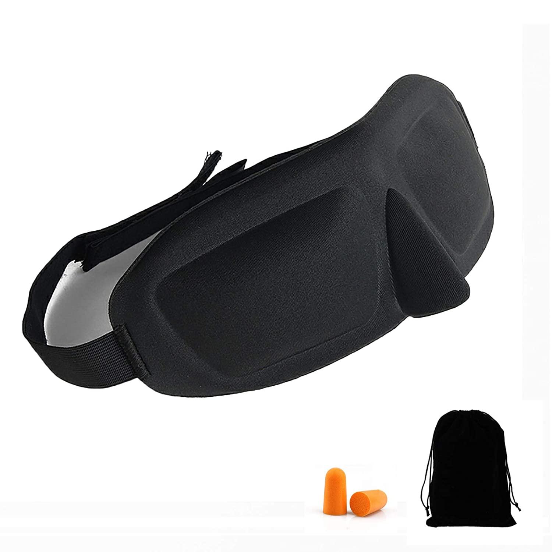 Cenekphy Upgraded 3D Contoured 100% Blackout Sleep Eye Mask Kit with Adjustable Strap, Breathable Comfortable Eye Mask for Women Men, Block Out Light Mask Shade Cover for Travel Naps Shift Work, Black