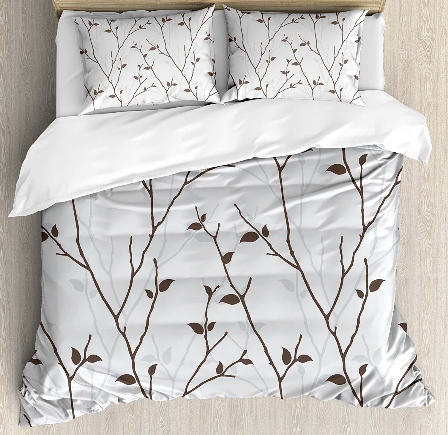 Ambesonne Leaf Duvet Cover Set, Branches in The Fall Trees Stem Twig with Last Few Leaves Minimalistic Design Art, Decorative 3 Piece Bedding Set with 2 Pillow Shams, Queen Size, Grey Brown