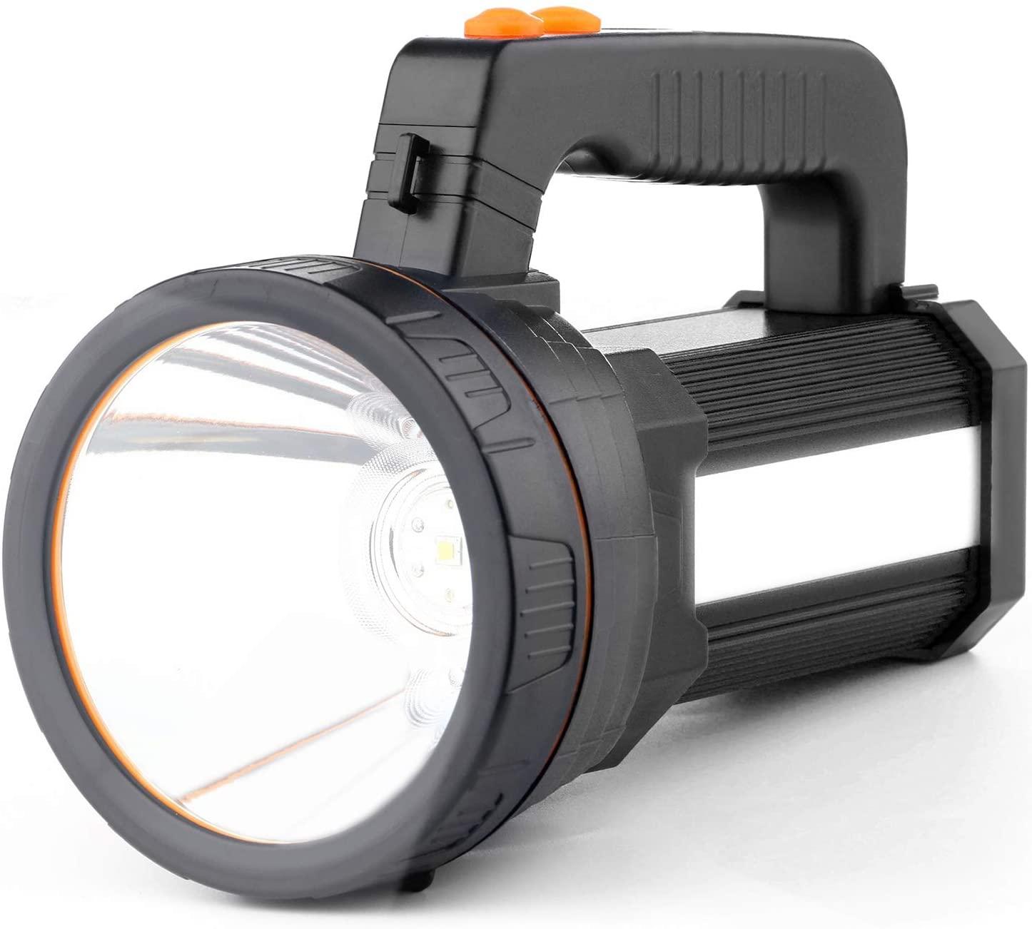 Rechargeable Spotlight Flashlight,Super Bright Handheld Flashlight,5 Light Modes,6000mAh Power Bank,Waterproof,LED Tactical Flashlight for Hurricane Emergency,Hiking, Home (Black)