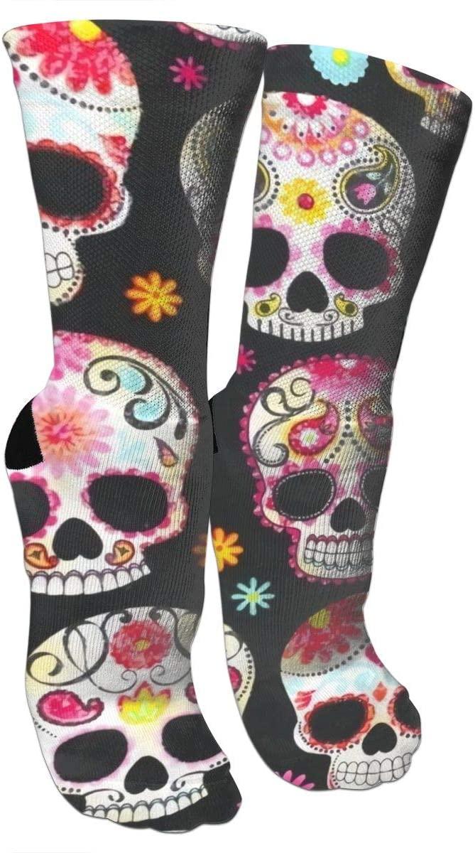 antspuent Novelty Sugar Skull Compression Socks Unisex Fun Novelty Crazy Dress Crew Socks