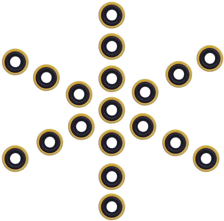 iGuerburn O2 Oxygen Tank Regulator Brass + Rubber Yoke Washer O-Ring Seals - Pack of 28