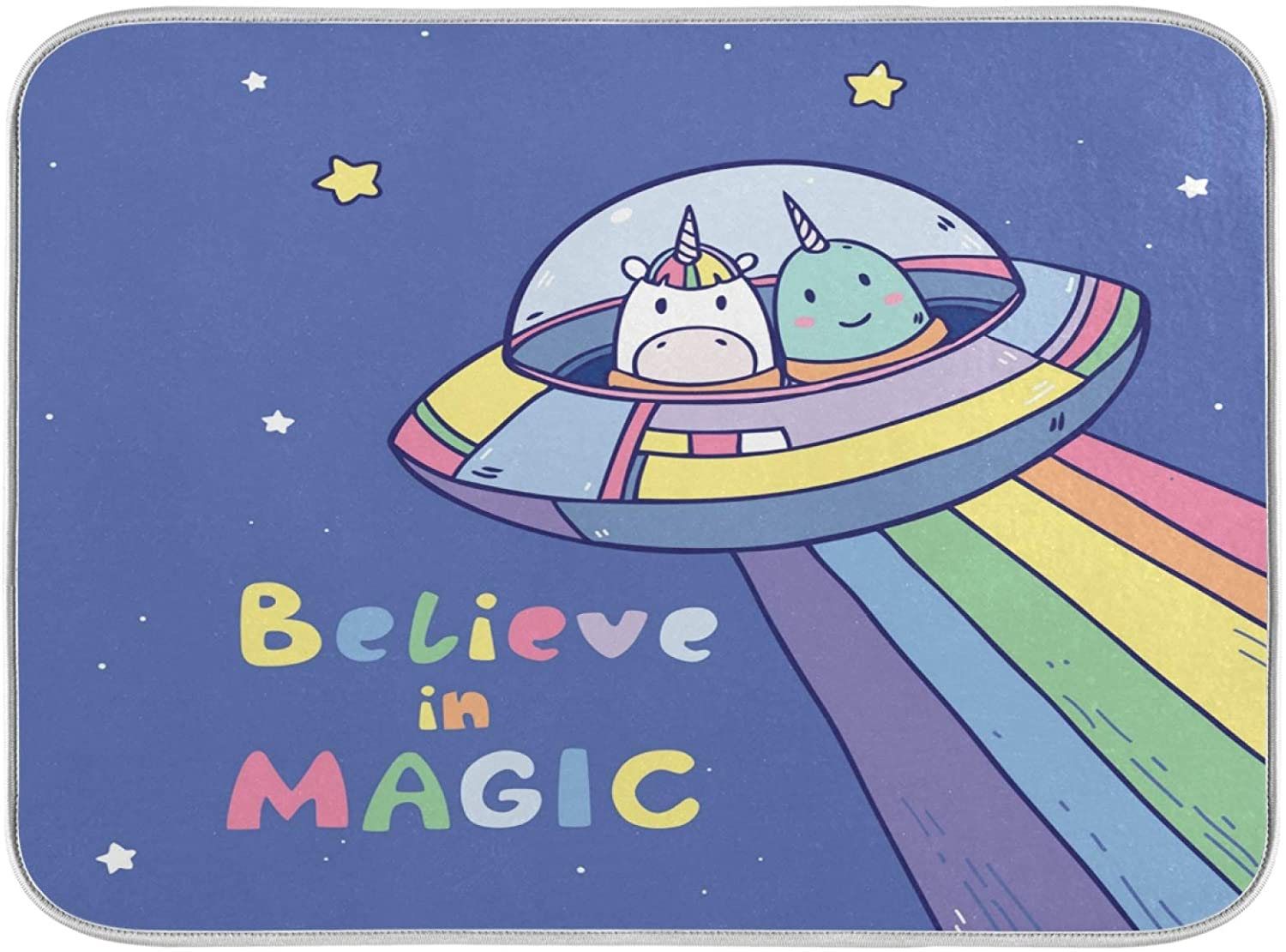ALAZA Unicorn Travelling Galaxy Universe Dish Drying Mat Absorbent Washable Foldable Dish Drying Pad for Home Kitten Counter 18x24 Inches
