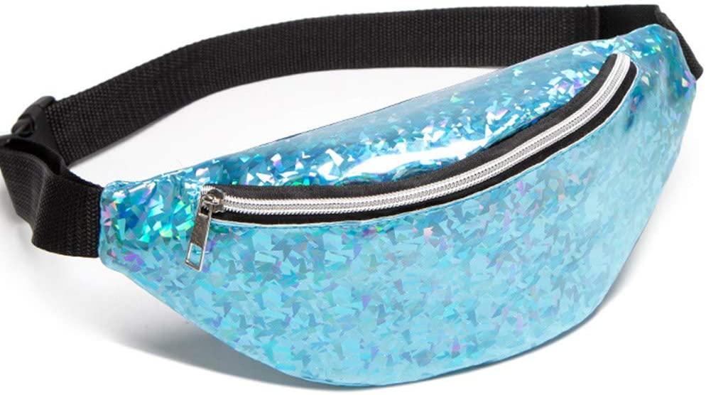 QINREN Fashion Women Waist Fanny Pack Belt Pouch Travel Purse Hip Bum Shoulder Bag,Blue,Pu