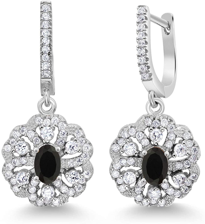 Gem Stone King 2.00 Ct Oval Black Onyx 925 Sterling Silver Earrings