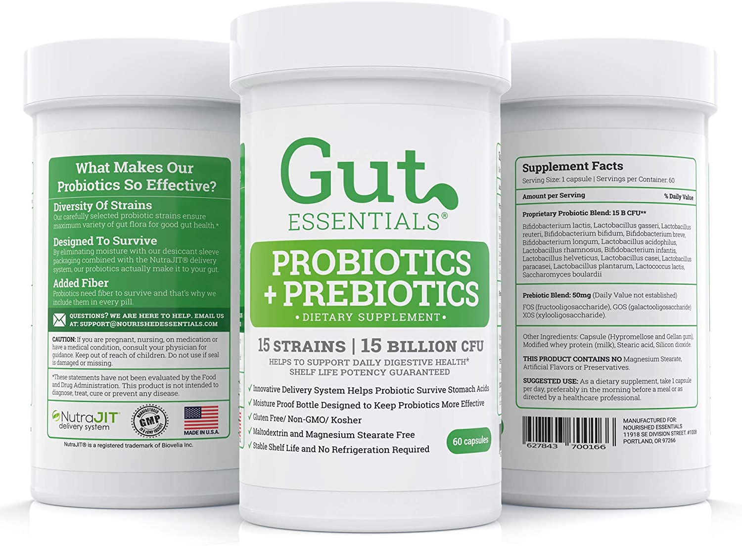 Gut Essentials – The Happy Gut Daily Raw Probiotic and Prebiotic for Women and Men – The Ultimate Supplement for Gut Flora Restoration – 15 Different Strains – Sixty Day Supply