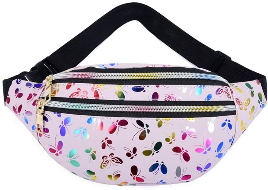 FEIlei Sports Pockets, Women Printed Waist Fanny Pack Belt Bag Travel Hip Bum Purse Chest Phone Pouch- Pink