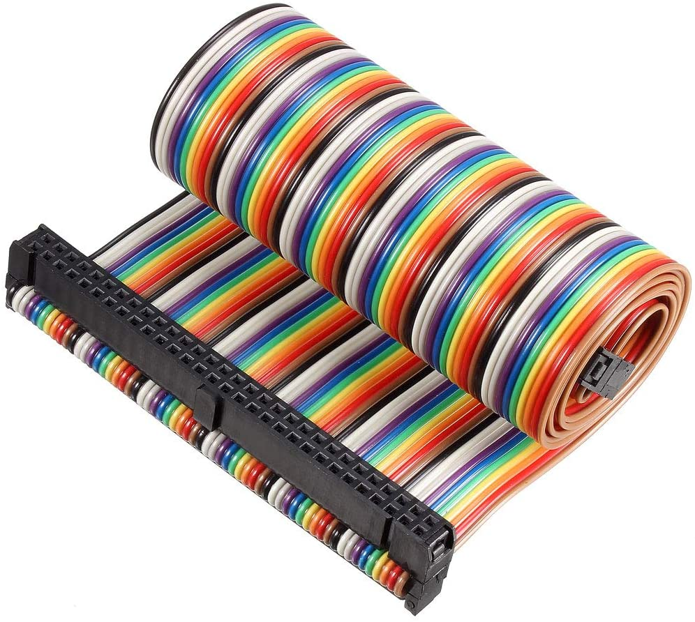 uxcell IDC Rainbow Wire Flat Ribbon Cable 60P D-type FC/FC Connector 2.54mm Pitch 0.5m/19.7inch Length