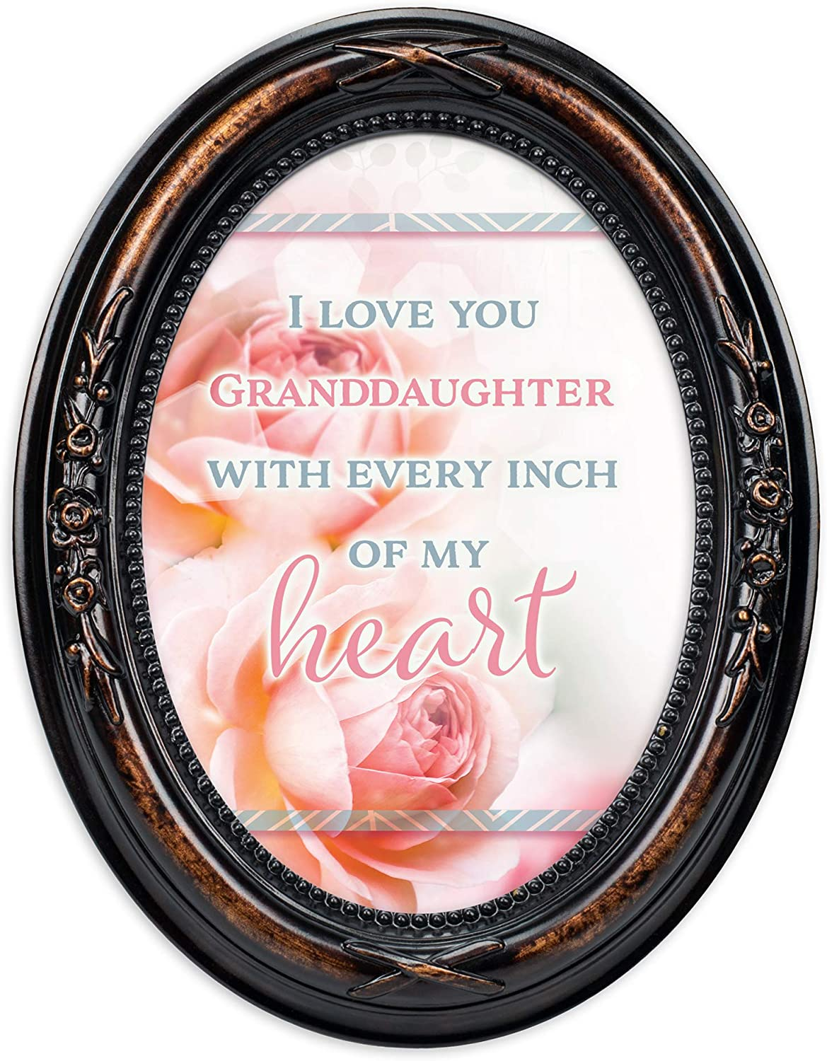 Cottage Garden Love Granddaughter Every Inch Heart Burlwood Finish Floral 5 x 7 Oval Table and Wall Photo Frame
