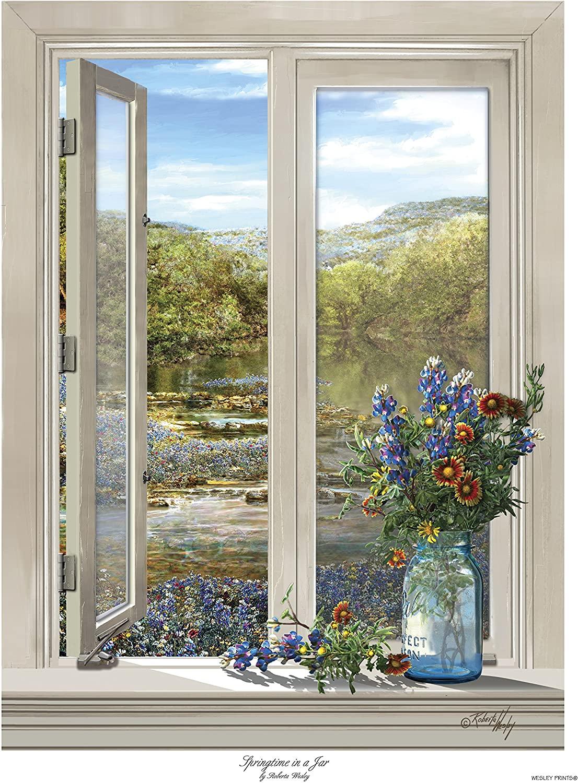 Springtime in a Jar - Wildflower Bouquet in Glass Canning Jar on Window Sill - Art by Roberta Wesley