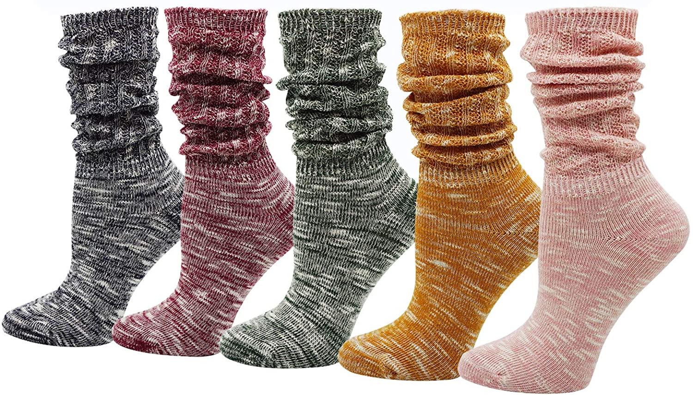 Womens Ladys 5 Pack Vintage Style Cotton Crew Socks