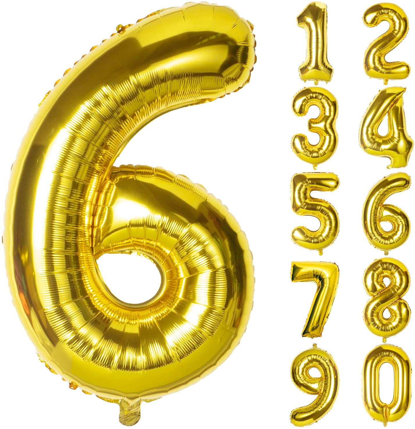 Gold Number 6 Balloon 40 Inch Giant Balloon for Birthday Parties, Anniversary Celebrations, Wedding Anniversary Decorations