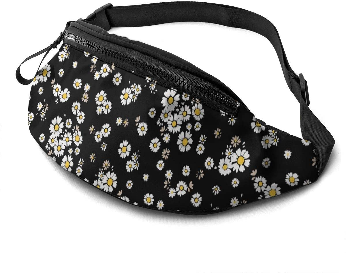 Dujiea Fanny Pack, Beautiful Ditsy Floral Waist Bag with Headphone Hole Belt Bag Adjustable Sling Pocket Fashion Hip Bum Bag for Women Men Kids Outdoors Casual Travelling Hiking Cycling