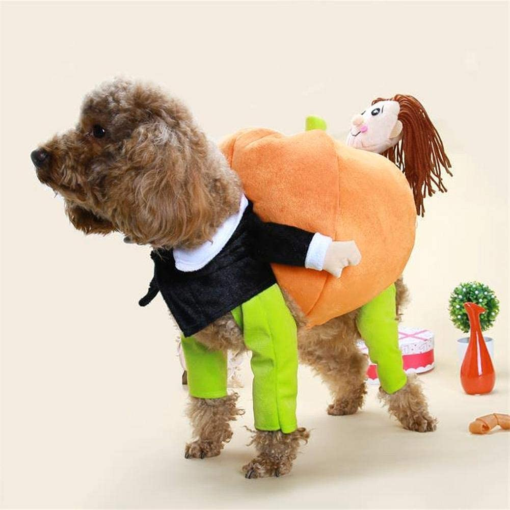 Alinory Cat Dog Pumpkin Costume, Funny Pet Costume Pet Dog Cat Clothes Carrying Pumpkin Halloween Party Cosplay Clothes