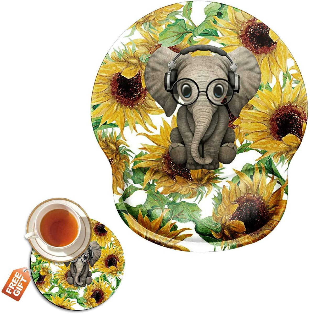 Ergonomic Mouse Pad with Wrist Support Gel, Sunflower Elephant Gaming Mousepad with Wrist Rest Non-Slip Rubber Base for Laptop Computer Home Office