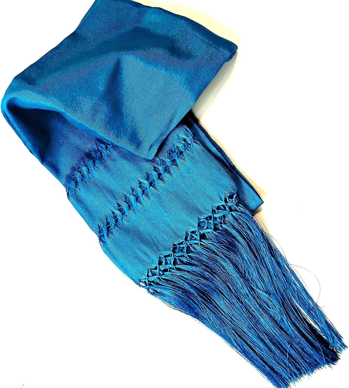 Mexican Reboso accesory Mexican Fiesta Azure Blue