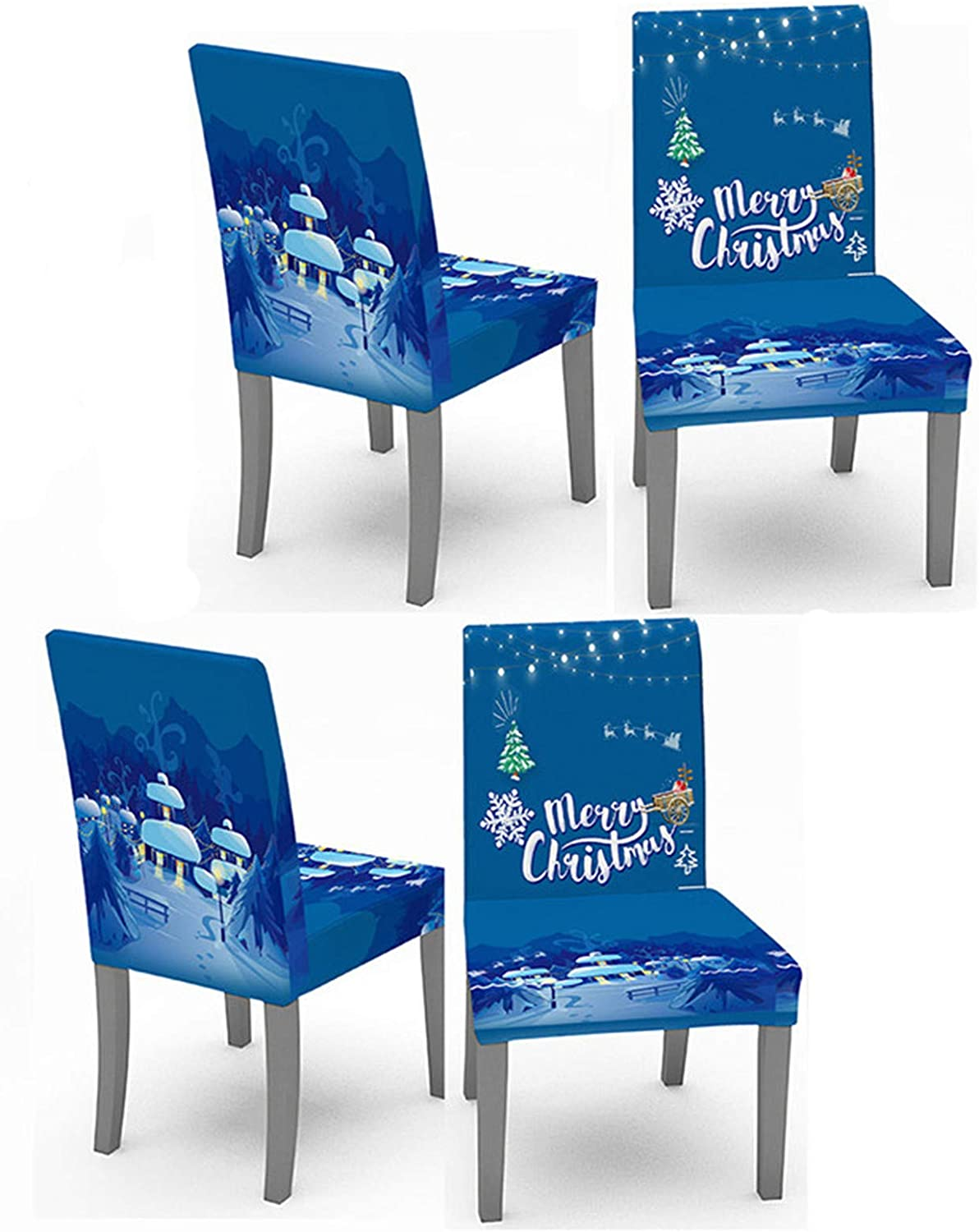 Crafttable 4pcs Stretch Dining Chair Slipcovers, Christmas Printed Chair Cover Seat Slipcover for Kitchen Home Hotel, 03