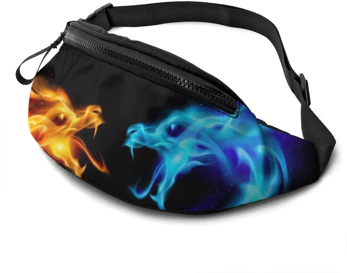 Dujiea Fanny Pack, Blue Red Fire Dragons Waist Bag with Headphone Hole Belt Bag Adjustable Sling Pocket Fashion Hip Bum Bag for Women Men Kids Outdoors Casual Travelling Hiking Cycling