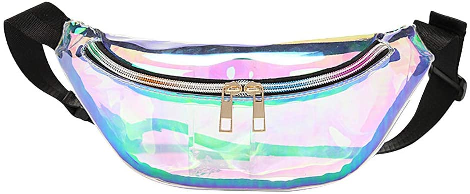 FENICAL Fanny Packs Clear PU Leather Colorful Shiny Waist Pouch for Women Girls