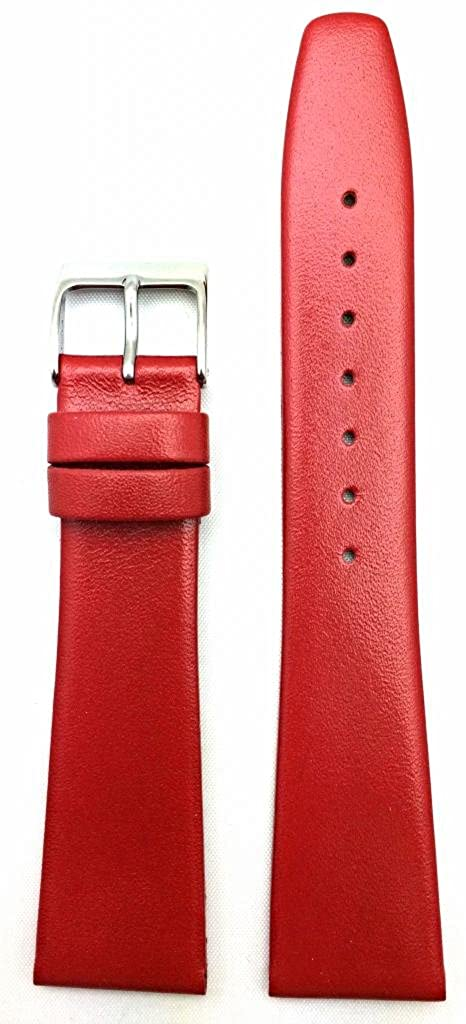 20mm Red Genuine Leather Watch Band | Flat, Smooth Replacement Wrist Strap that brings New Life to Any Watch (Mens Standard Length)