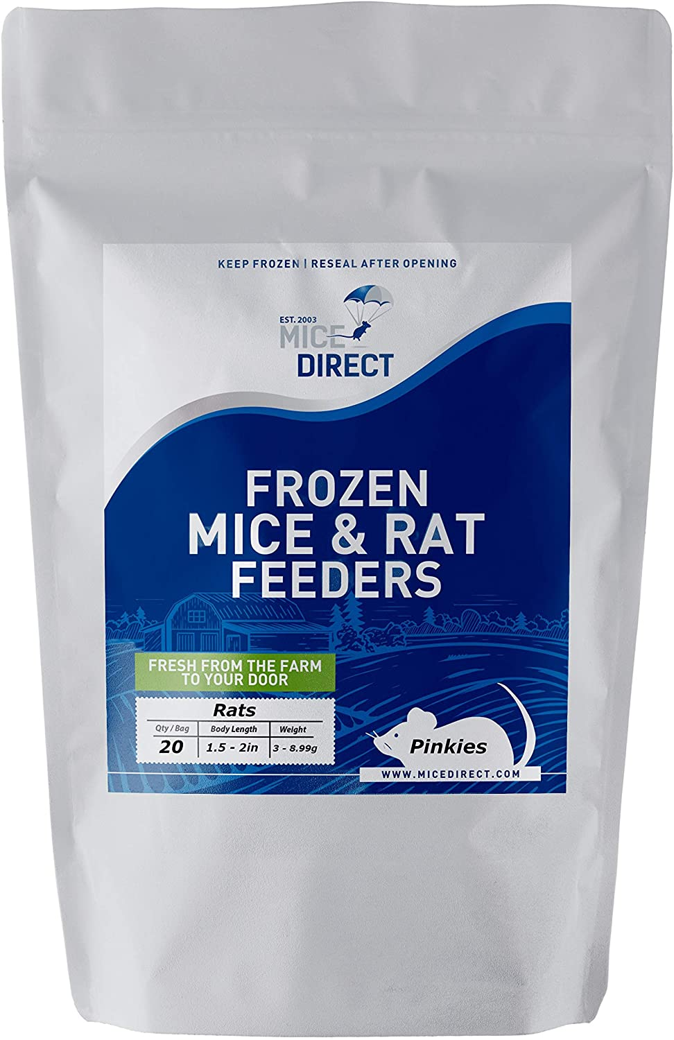 MiceDirect 20 Pack of Frozen Pinkie Feeder Rats - Food for Corn Snakes, Ball Pythons, Lizards and Other Pet Reptiles - Freshest Snake Feed Supplies