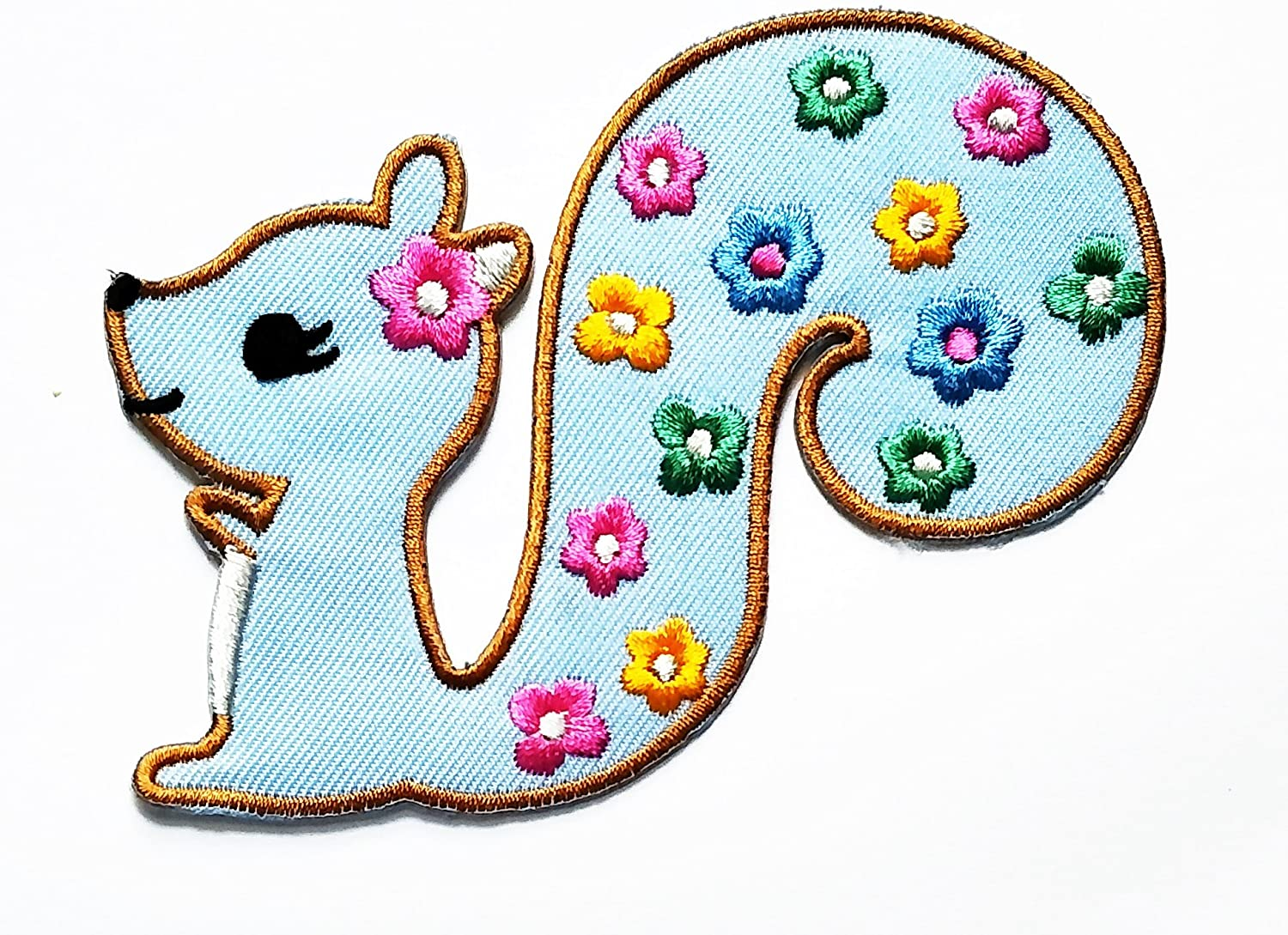 HHO Blue Little squirrel bright flower Patch Embroidered DIY Patches, Cute Applique Sew Iron on Kids Craft Patch for Bags Jackets Jeans Clothes