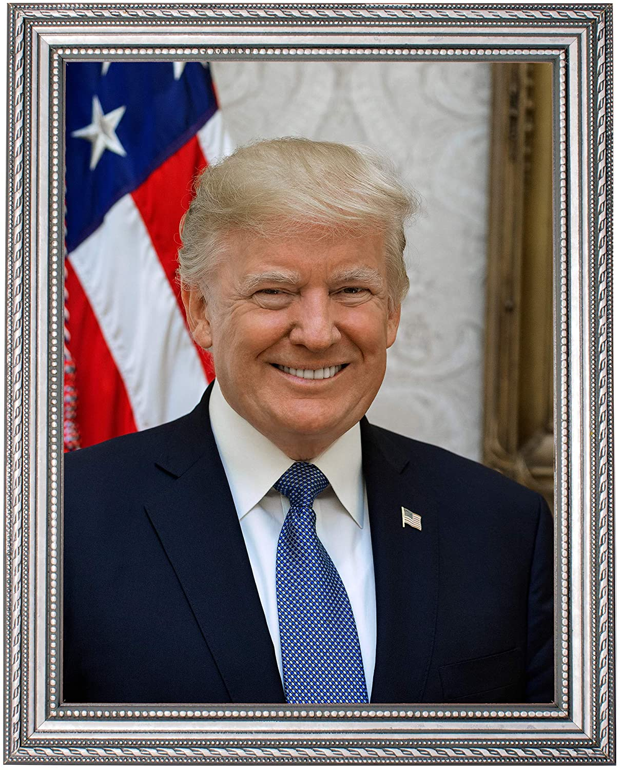 Donald J. Trump Photograph in a Silver Ornate Frame - Historical Artwork from 2017 - (8.5