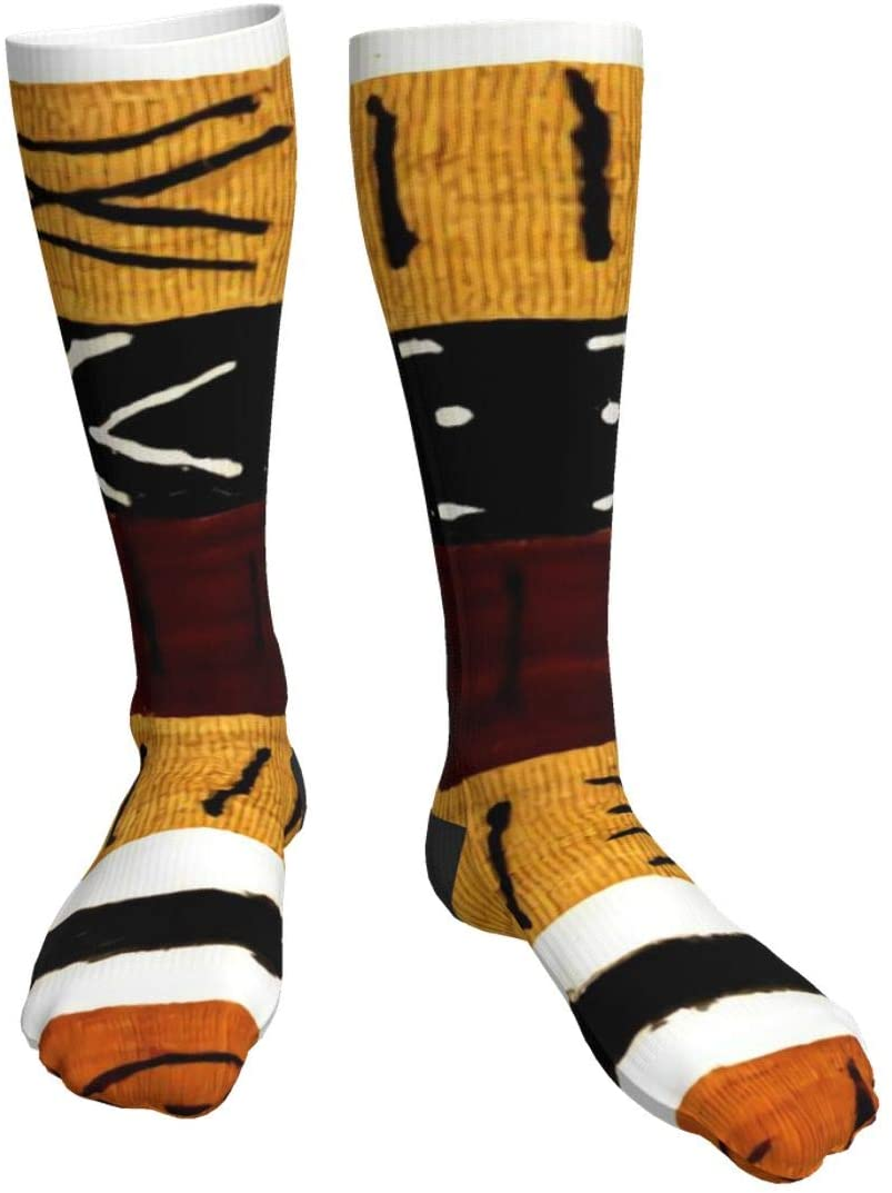 antcreptson Ornate African Symbol Texture Compression Socks Unisex Printed Socks Crazy Patterned Fun Long Cotton Socks Over The Calf Tube