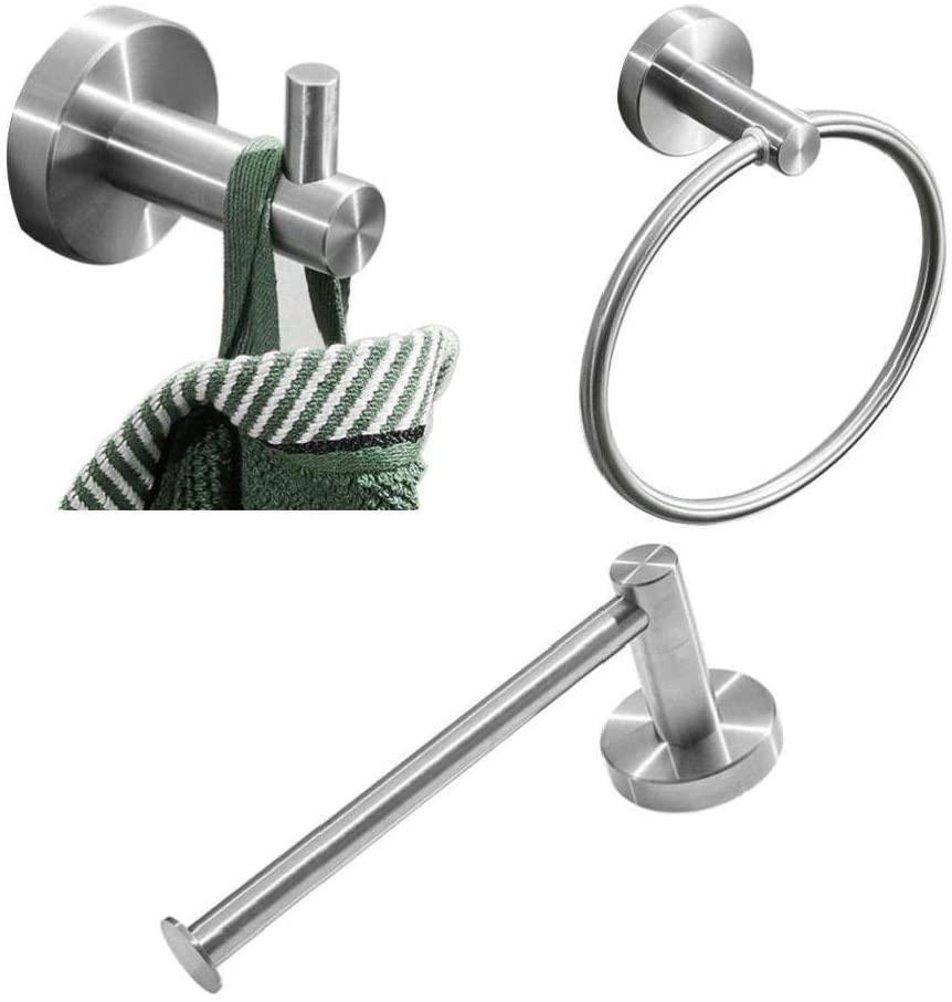 Wall Towel Hooks Rustproof Brushed Silver Polishing,304 Stainless Steel Bathroom Accessories Set Robe Hooks Towel Ring Bar Toilet Paper Holder Tissue Rack,3pcs